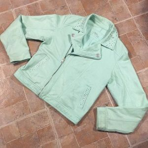 Justice Brand mint green jacket size kids girls 18